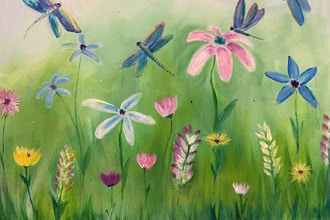 Online Acrylic Painting: Dragonflies & Daisie