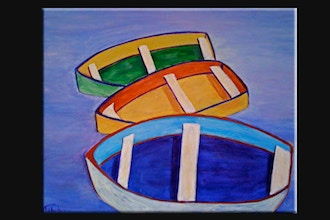 Online Acrylic Painting: Rowboats