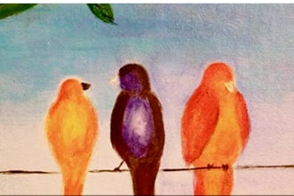 Acrylic Painting: Birds on a Wire