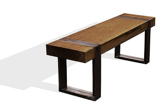 Wood & Metal Combo: Timber Beam Bench